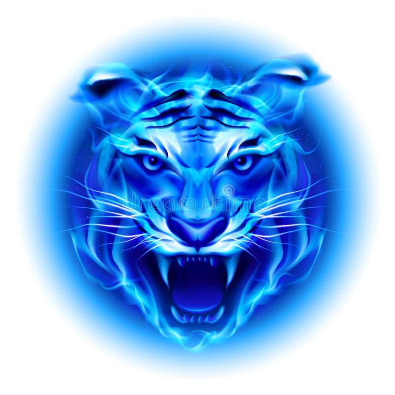 Testa della tigre blu del fuoco. illustrazione di stock