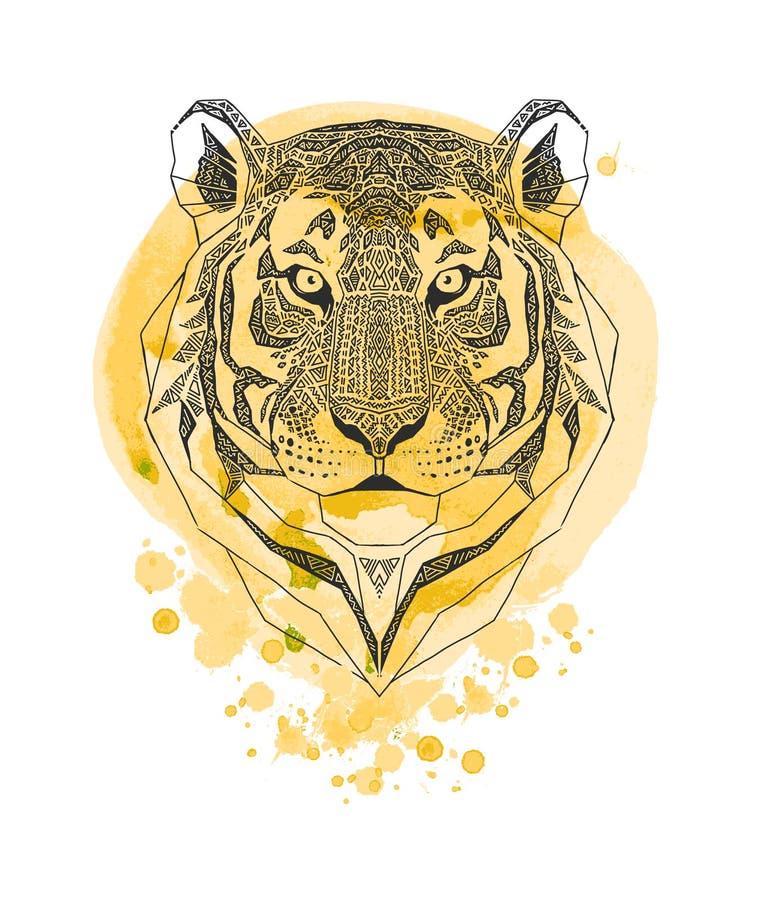 Testa della tigre isolata sul fondo giallo della spruzzata della pittura dell'acquerello Ritratto stilizzato dell'animale selvati illustrazione di stock