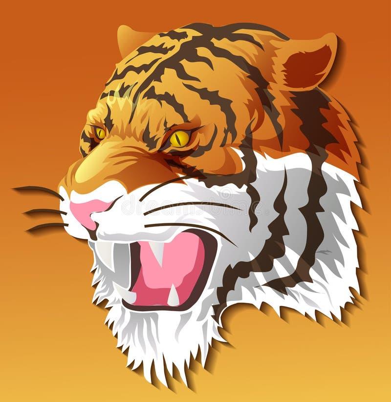 Testa della tigre isolata vettore a colori il fondo illustrazione di stock