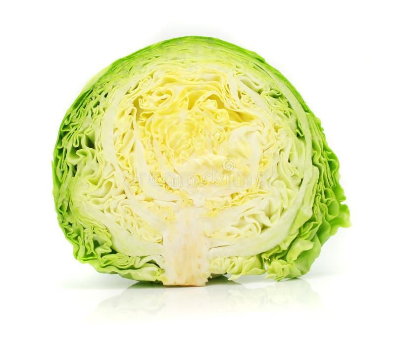 Testa della verdura del cavolo verde isolata immagini stock libere da diritti