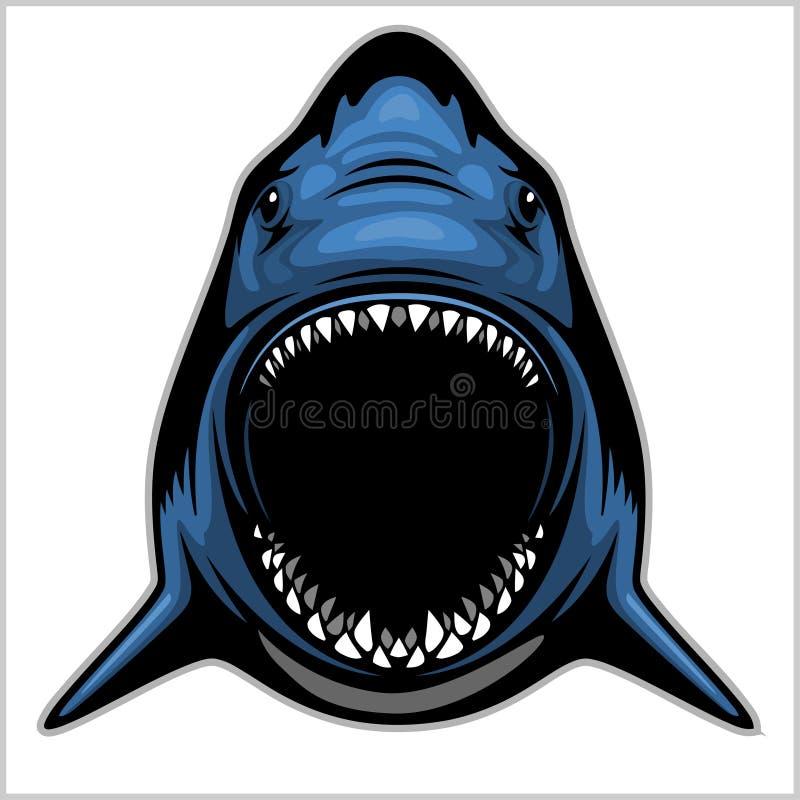 Testa dello squalo isolata sull'emblema bianco- per uno sport di squadra royalty illustrazione gratis