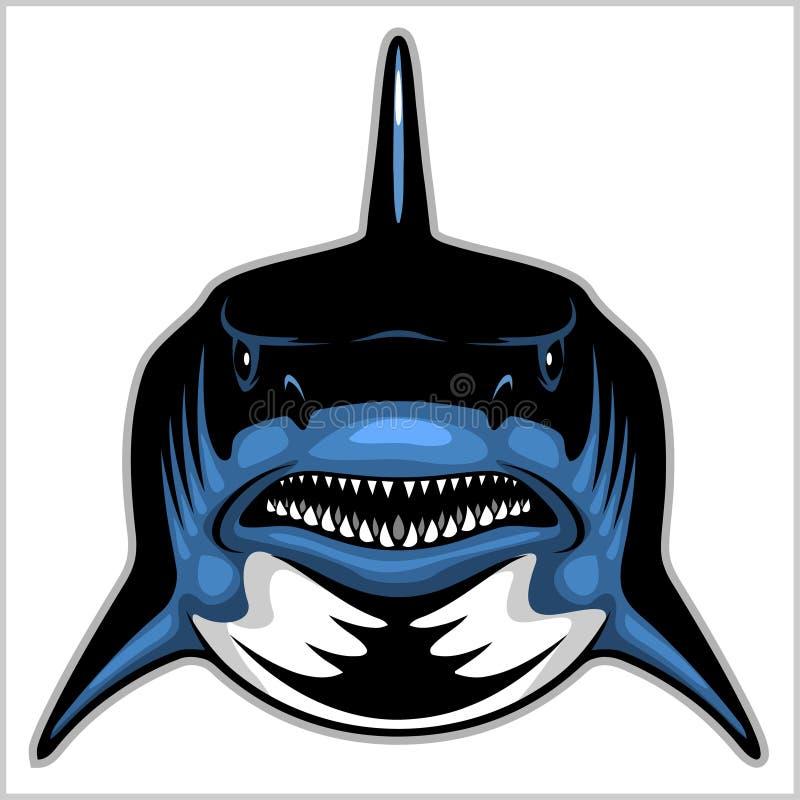 Testa dello squalo isolata sull'emblema bianco- per uno sport di squadra illustrazione vettoriale