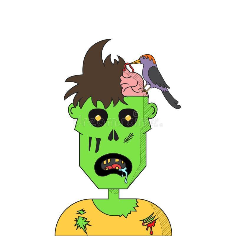 Testa dello zombie del fumetto illustrazione di stock