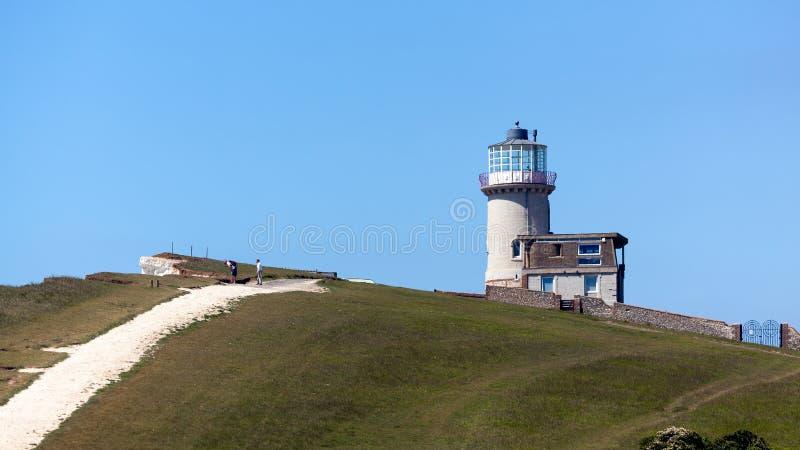 TESTA DI BEACHEY, SUSSEX/UK - 11 MAGGIO: Belle Toute Lighthouse a fotografia stock libera da diritti