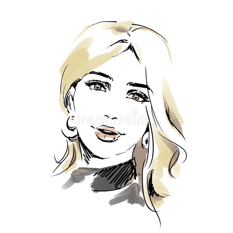 Testa di bella donna Illustrazione dell'acquerello di modo, testa femminile illustrazione di stock
