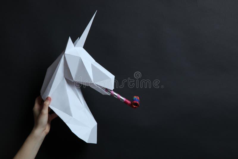 Testa di bianco di un unicorno immagini stock libere da diritti