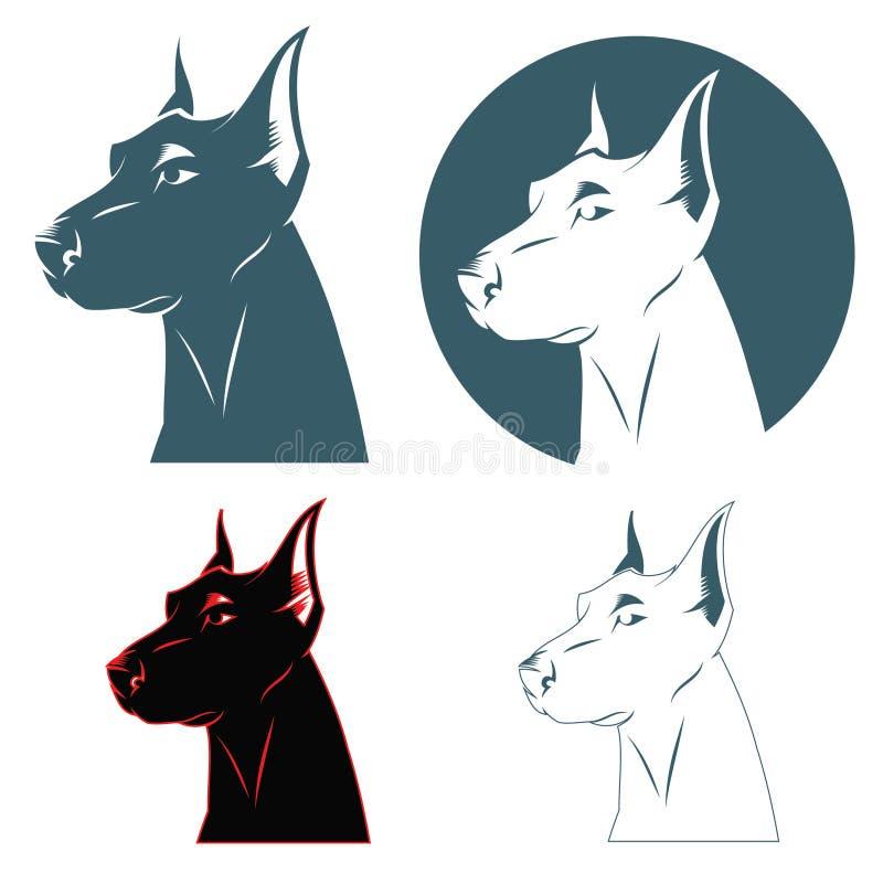 Testa di cane del Doberman royalty illustrazione gratis