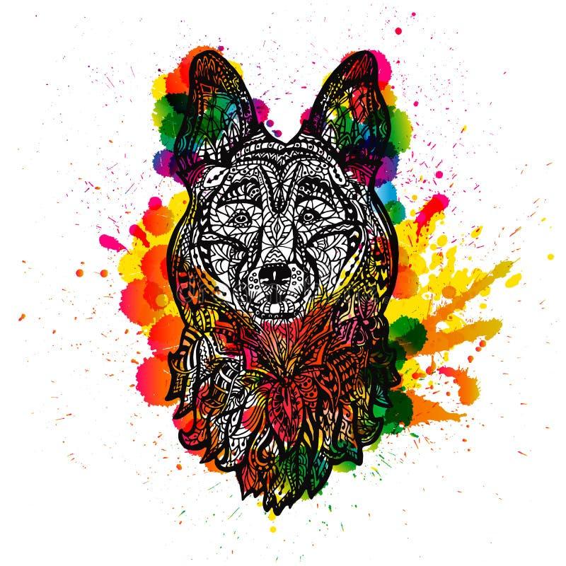 Testa di cane, cane pastore del fronte Fondo di lerciume Tatuaggio di coloritura illustrazione vettoriale