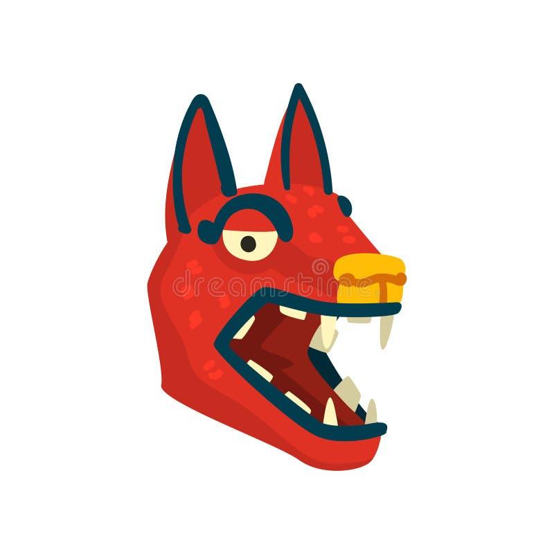 Testa di cane, simbolo di civilizzazione di maya, illustrazione tribale americana di vettore dell'elemento della cultura su un fo illustrazione di stock