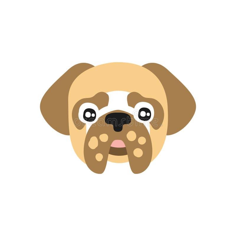Testa di cane sveglia del carlino, carattere animale del fumetto divertente, illustrazione domestica adorabile di vettore dell'an royalty illustrazione gratis