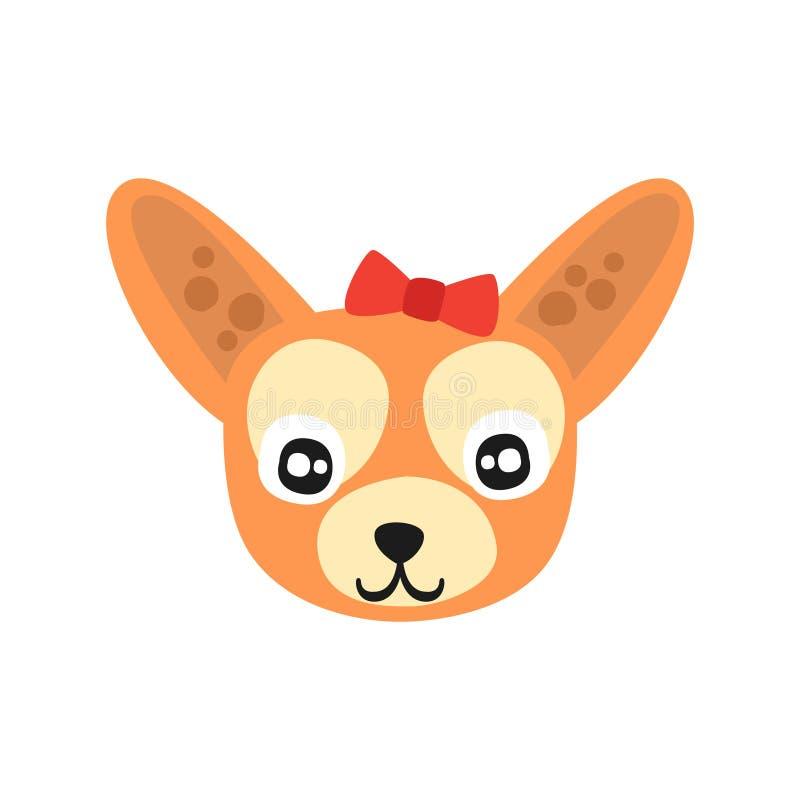 Testa di cane sveglia della chihuahua, carattere animale del fumetto divertente, illustrazione domestica adorabile di vettore del royalty illustrazione gratis