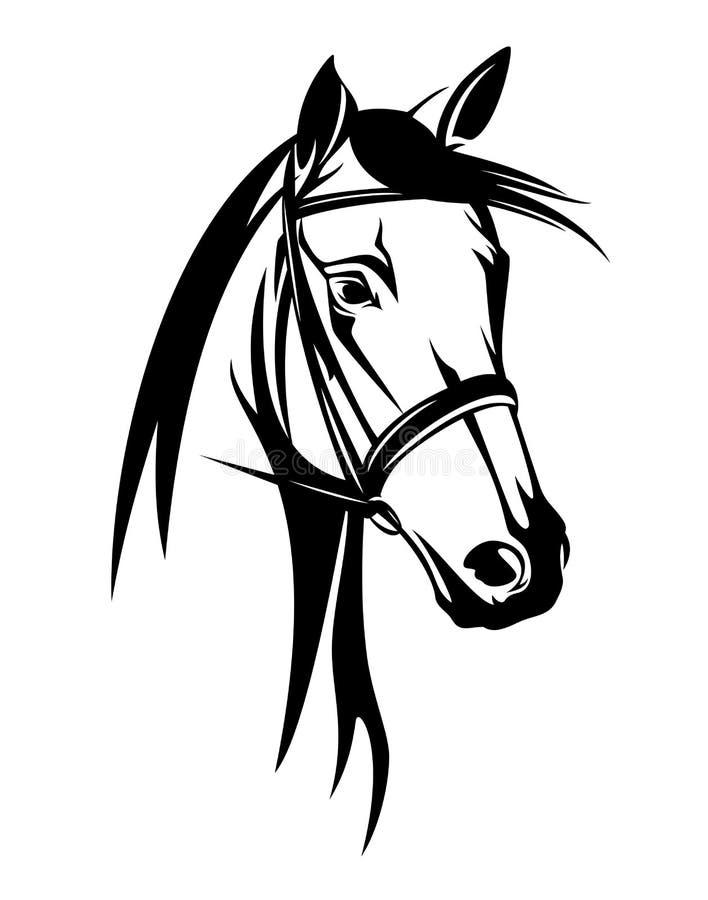 Testa di cavallo con il profilo di vettore del nero della briglia illustrazione vettoriale