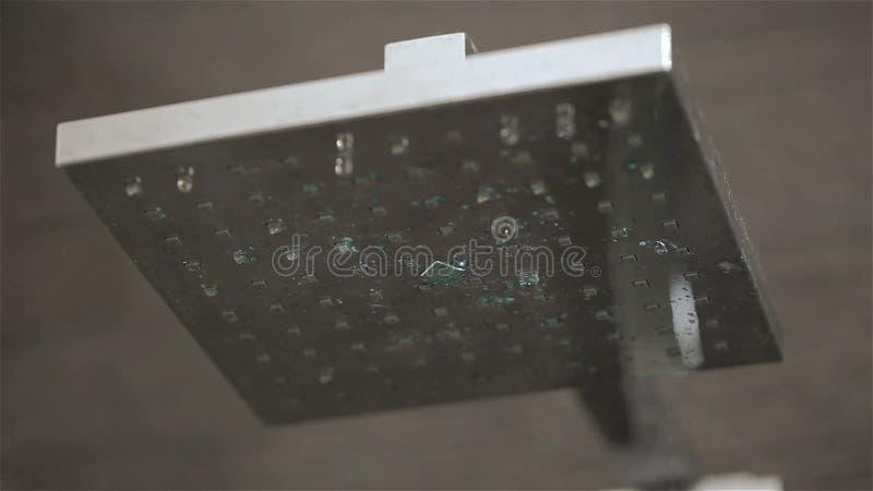 Testa di doccia in sgocciolatura del bagno video d archivio