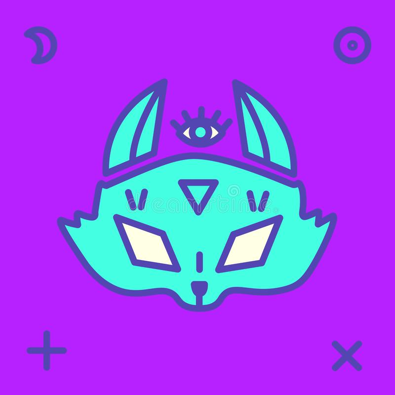 Testa di Fox con i vari segni mistici immagini stock