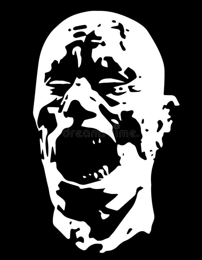 Testa di grida del demone dello zombie Illustrazione di vettore royalty illustrazione gratis