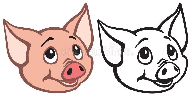 Testa di piccoli profilo e colore del maiale del fumetto illustrazione vettoriale