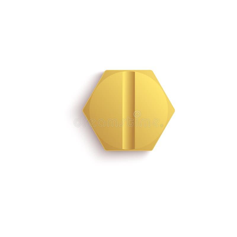 Testa di vite del metallo dell'oro con azionamento svasato esagono piano, bullone dorato metallico isolato con la singola linea n illustrazione vettoriale