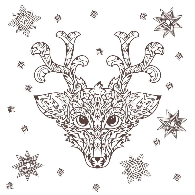 Testa disegnata a mano dei cervi del profilo di scarabocchio royalty illustrazione gratis