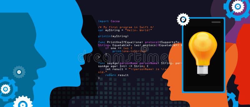Testa ed idea dello Smart Phone di codice di linguaggio di programmazione di applicazione mobile royalty illustrazione gratis