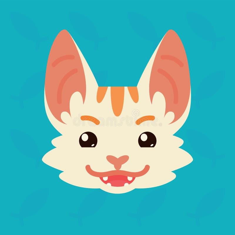 Testa emozionale del gatto L'illustrazione di vettore di gattino sveglio mostra l'emozione ingannevole Emoji diabolico Icona di s royalty illustrazione gratis