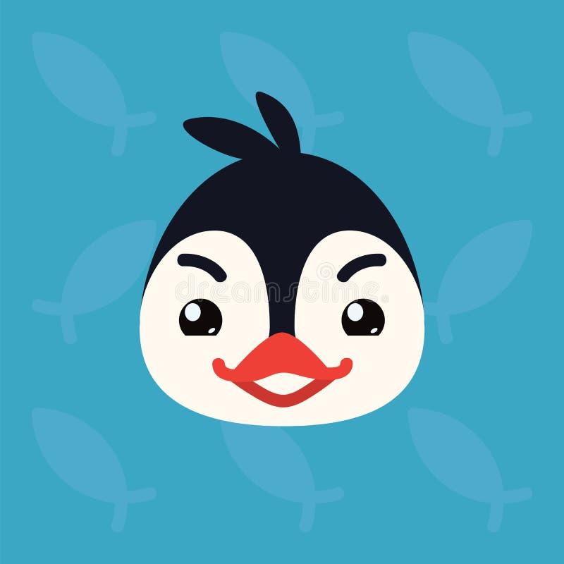 Testa emozionale del pinguino L'illustrazione di vettore dell'uccello artico sveglio mostra l'emozione ingannevole Emoji diabolic illustrazione di stock
