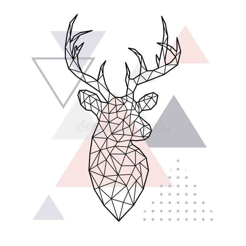 Testa geometrica astratta di un cervo della foresta royalty illustrazione gratis