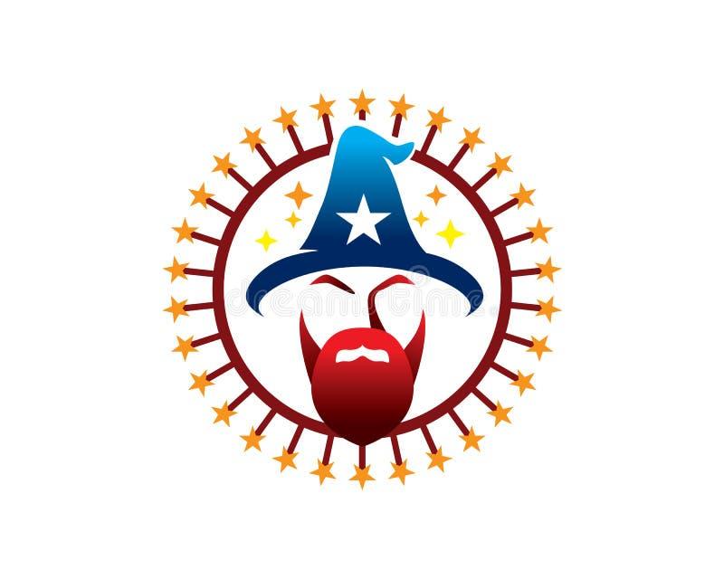 Testa magica dello stregone con il cappello della stella e della barba nel logo dell'emblema dei fuochi d'artificio con testo e p illustrazione di stock