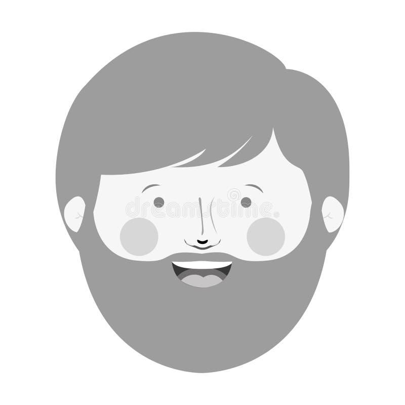 Testa monocromatica dell'uomo con la barba ed il fronte sorridente illustrazione vettoriale