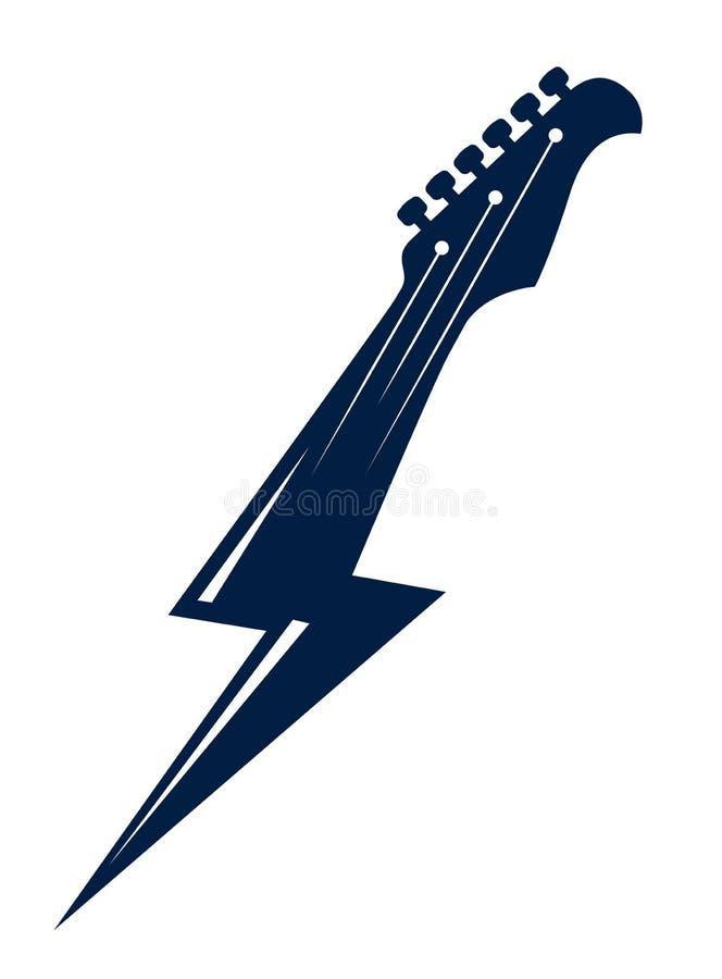 Testa motrice della chitarra elettrica in una forma di fulmine, musica rock calda, concerto di rock-and-roll o del hard rock o et illustrazione di stock