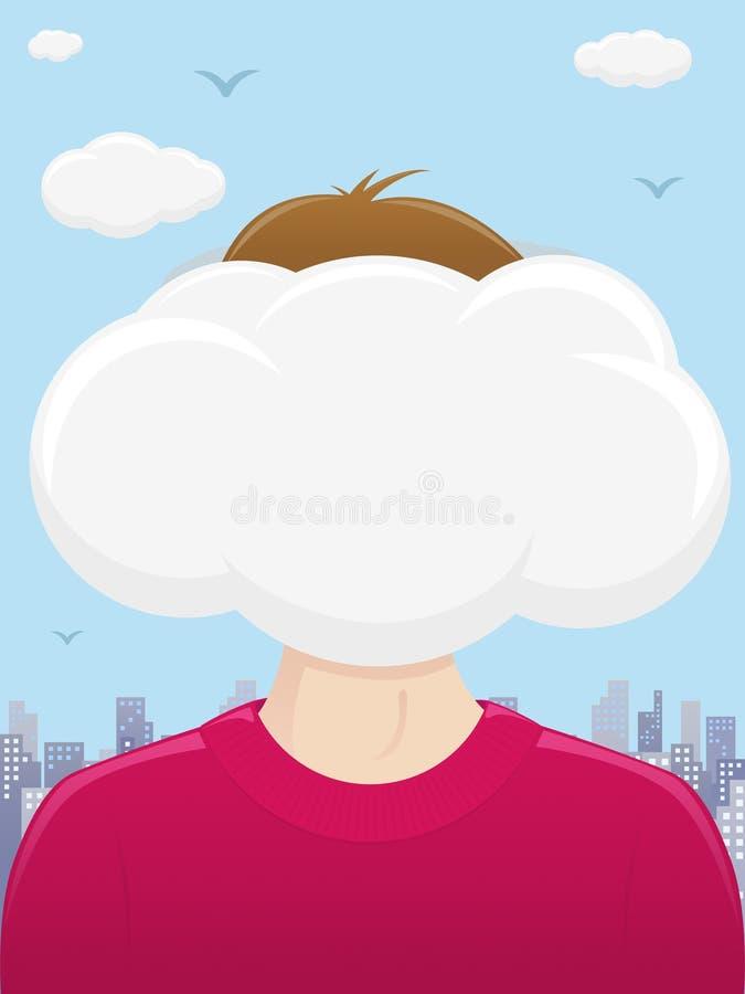 Testa nelle nubi illustrazione di stock