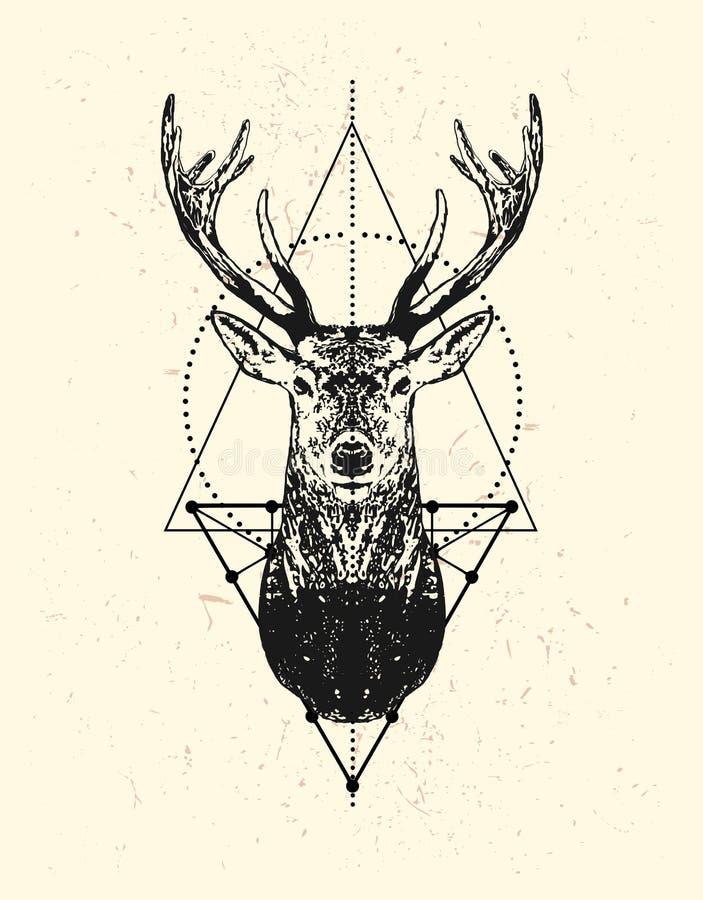 Testa nera dei cervi con il fondo del triangolo royalty illustrazione gratis