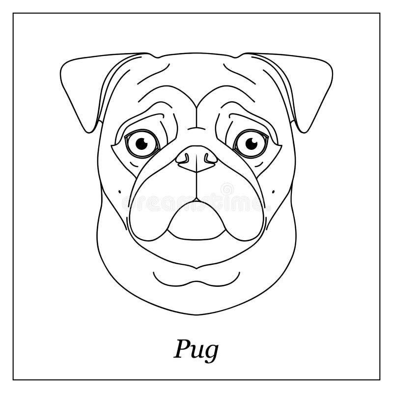 Testa nera isolata del profilo del cane del carlino, zazzere su fondo bianco Linea ritratto del cane della razza del fumetto illustrazione di stock