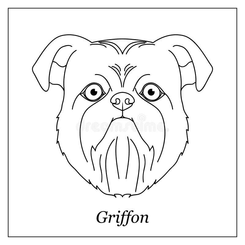 Testa nera isolata del profilo di Bruxelles, grifone belga su fondo bianco Linea ritratto del cane della razza del fumetto illustrazione di stock