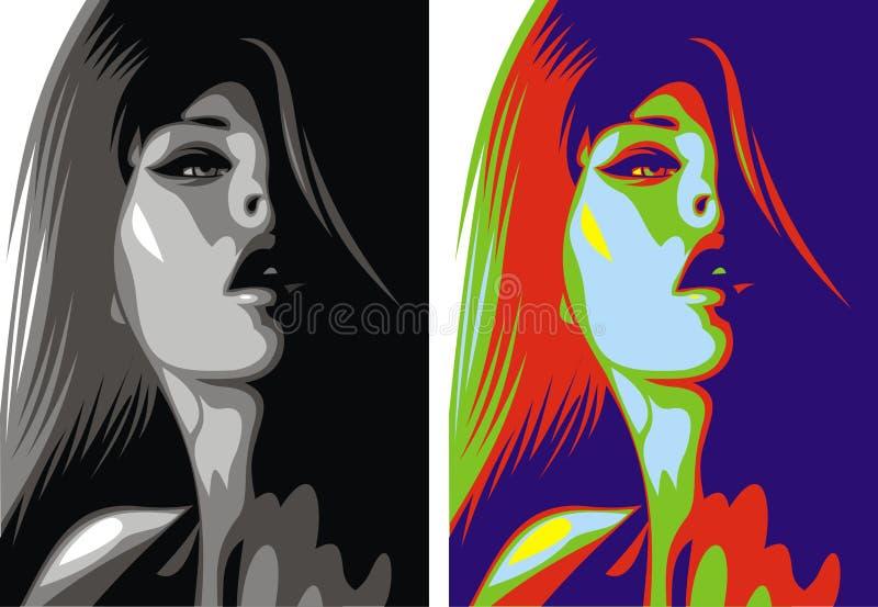 Testa piacevole della donna illustrazione vettoriale