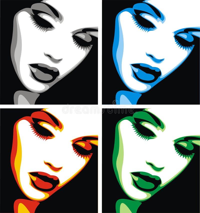 Testa piacevole della donna in quattro colori illustrazione vettoriale