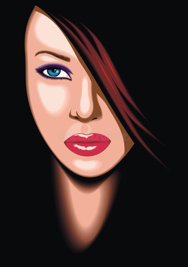 Testa piacevole della giovane donna illustrazione vettoriale