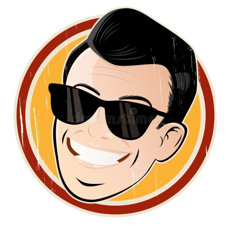 Testa rilassata del fumetto con gli occhiali da sole illustrazione vettoriale