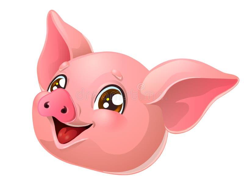 Testa rosa adorabile del maiale su bianco illustrazione di stock