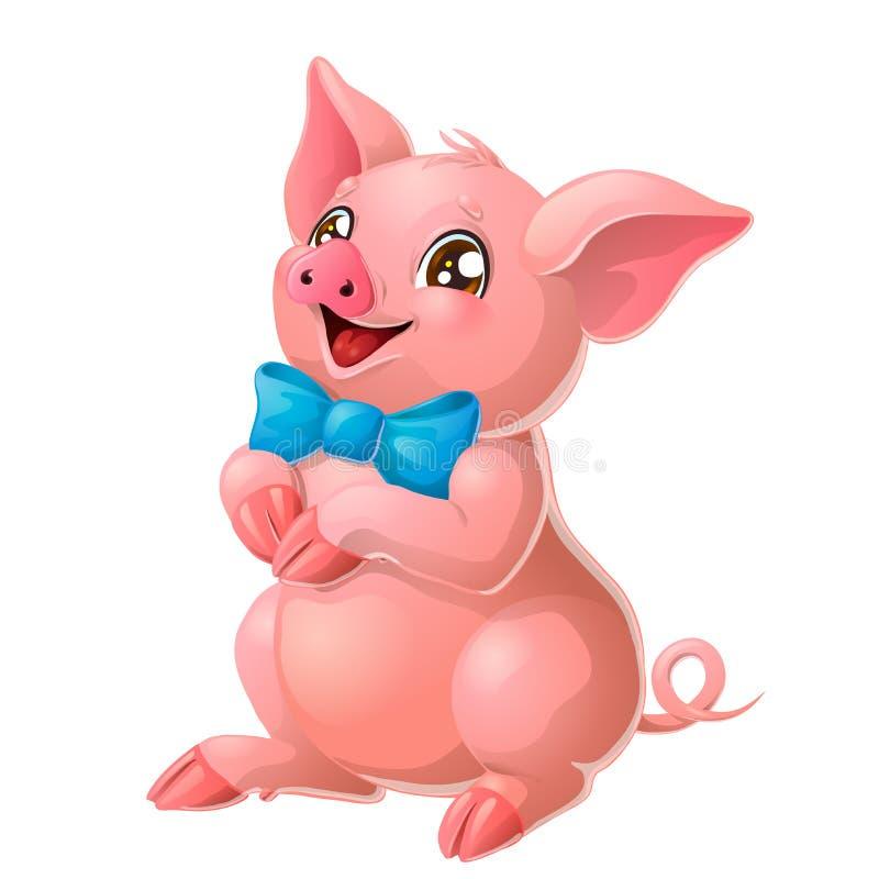 Testa rosa adorabile del maiale su bianco illustrazione vettoriale
