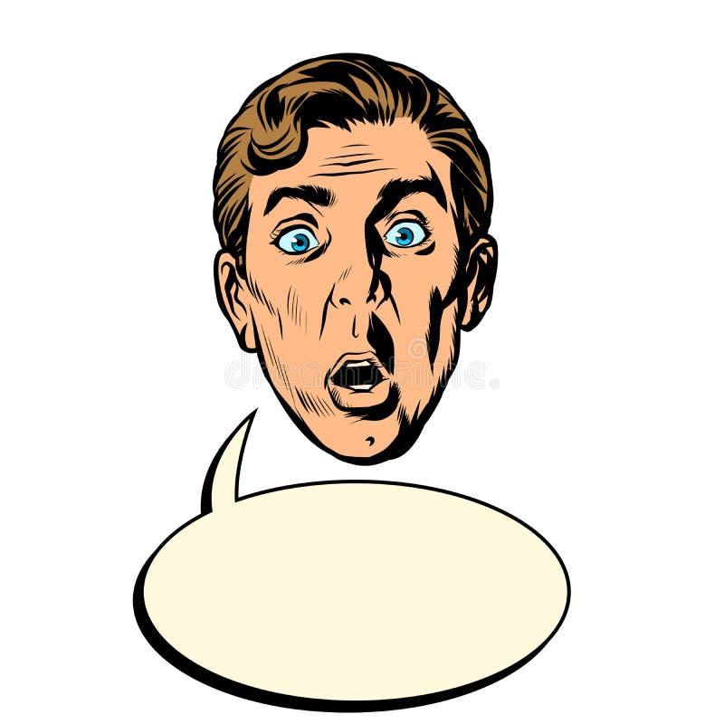 Testa sorpresa del fronte dell'uomo illustrazione di stock