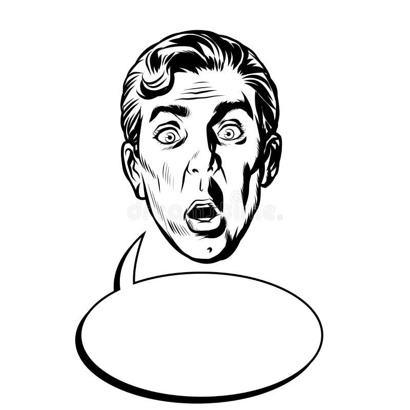 Testa sorpresa del fronte dell'uomo illustrazione vettoriale