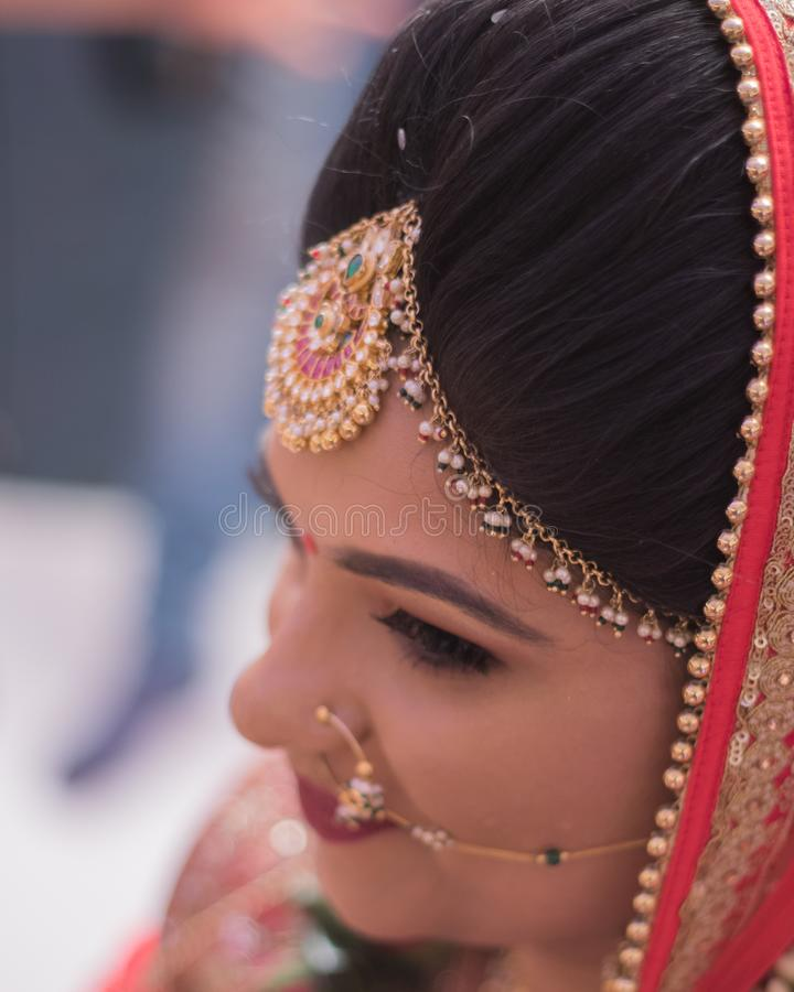 Testa sparata della sposa indiana - India Ahmedabad immagine stock libera da diritti