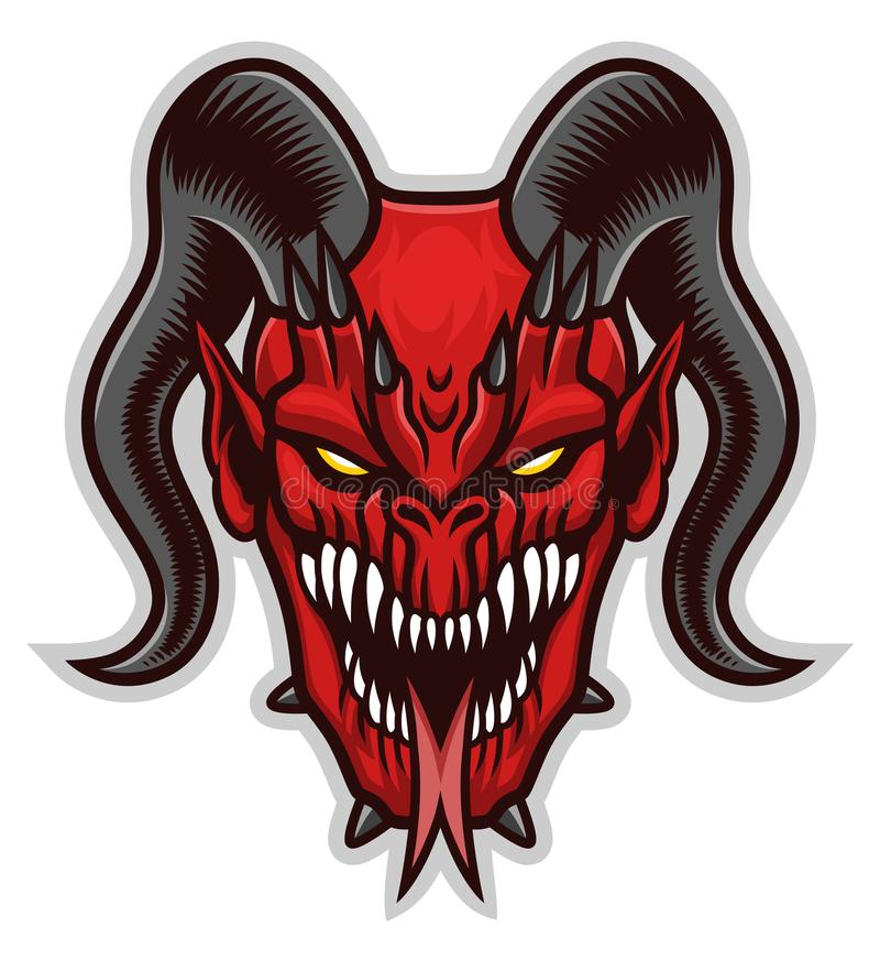 Testa spaventosa rossa del demone illustrazione di stock