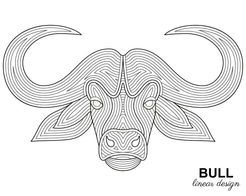Testa stilizzata creativa del toro nello stile lineare etnico Priorità bassa animale royalty illustrazione gratis