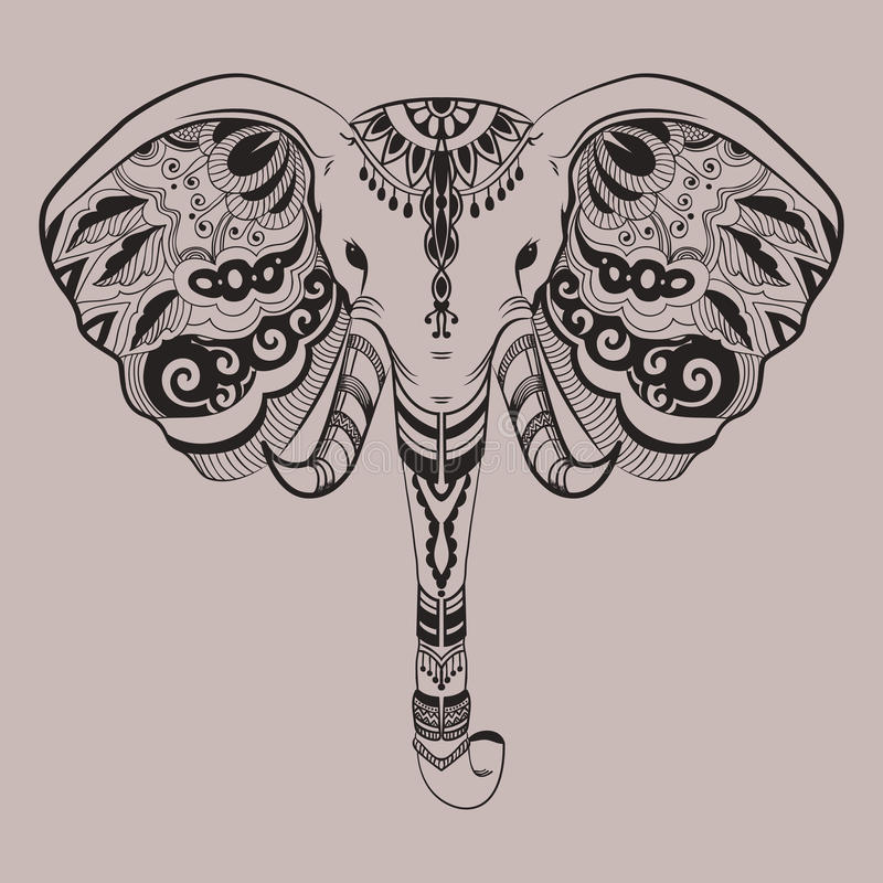 Testa stilizzata dell'elefante, animale indiano Scarabocchi ornamentali Linea arte illustrazione aggrovigliata lineare disegnata  royalty illustrazione gratis