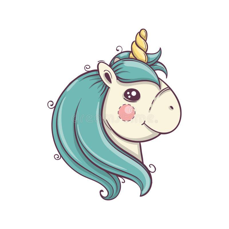 Testa sveglia dell'unicorno, ritratto Icona di vettore isolata unicorno Autoadesivo del cavallo di fantasia, distintivo della top royalty illustrazione gratis