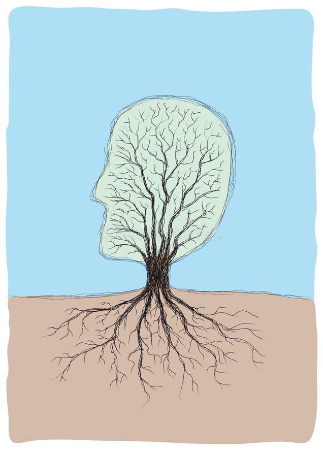 Testa Tree-shaped illustrazione vettoriale
