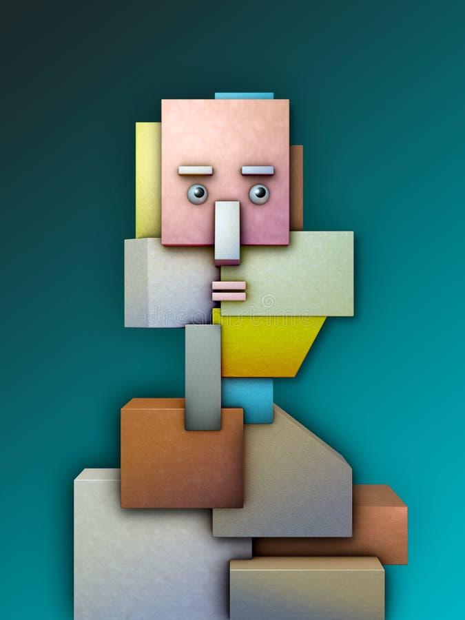 Testa umana composta dalle forme geometriche illustrazione di stock