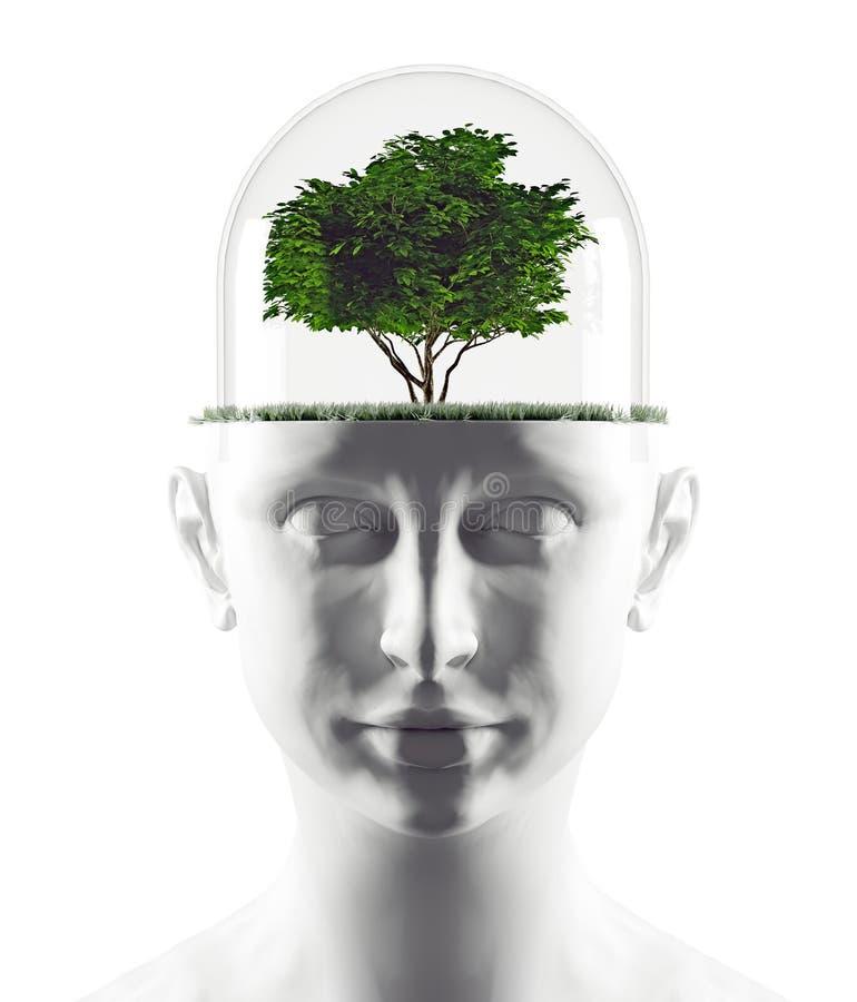 Testa umana con l'albero royalty illustrazione gratis