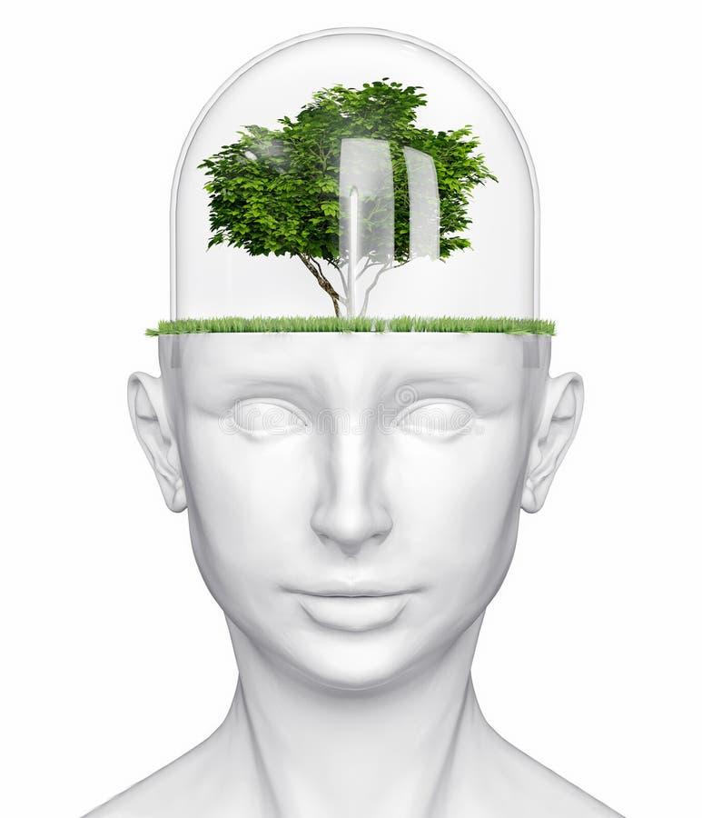 Testa umana con l'albero illustrazione vettoriale